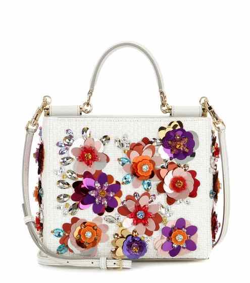 Dolce and Gabbana Embellished Raffia Shoulder Bag