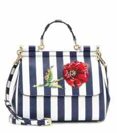 Dolce and Gabbana Miss Sicily Medium Embroidered Leather Tote