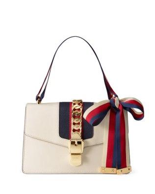 Gucci Sylvie Grosgrain Striped Shoulder Bag White Red Blue