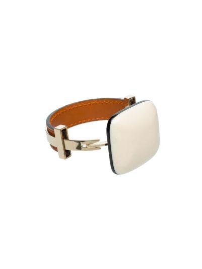 Marni White Plastic Metal and Leather bracelet