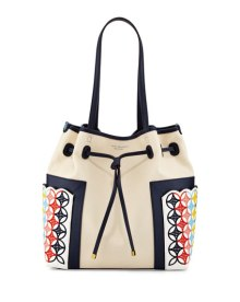 Tory Burch Embroidered Bucket Bag