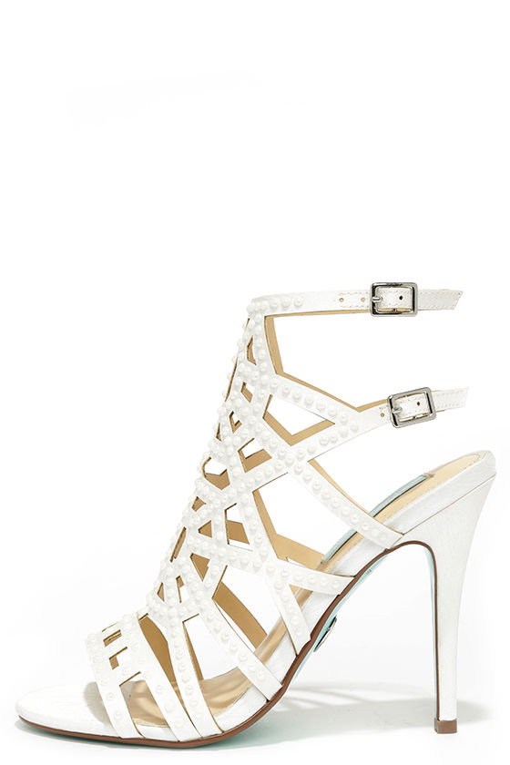 Blue by Betsey Johnson Corey Ivory Satin Beaded Caged Heels $129