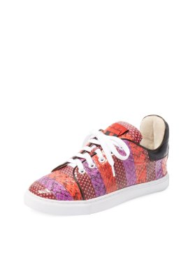 Isla Tapla Kelly Snakeskin Embossed Low Top Sneaker