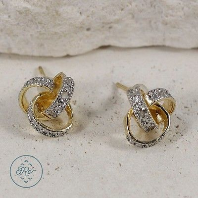Victoria Townsend 18k Gold over Sterling Silver Diamond Accent Love Knot Earrings