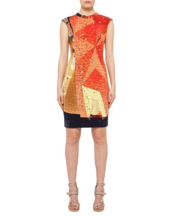 Akris punto Rock Climbing Wall Printed Dress Neiman Marcus