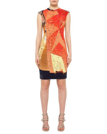 Akris punto Rock Climbing Wall Printed Dress Neiman Marcus