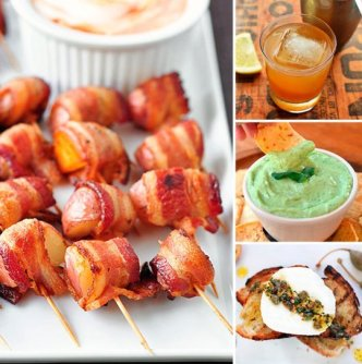 Mini Bacon Wrapped Potatoes /Creammy Tofu and Green Pea Dip/Fresh Mozzarella Toasts with Spicy Herb Oil