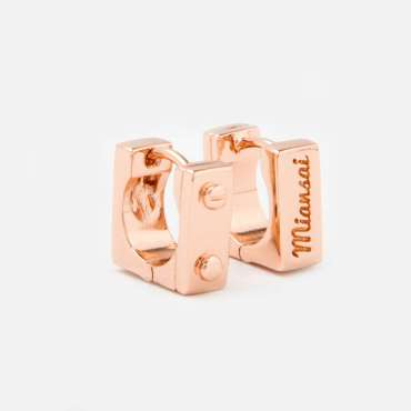 Miansai Square Huggie Earrings Rose Gold-Plated